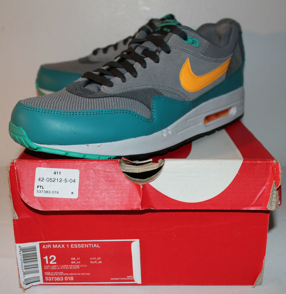 Nike Air Max 1 Essentials Cool Gris homme Gray Laser Orange Sneakers homme Gris Taille 12 New 762de7