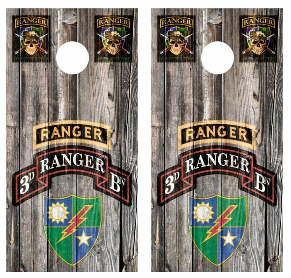 Rangers 3rd Battalion Cornhole Board Decal Wraps w FREE  APP SQUEEGEE  store sale outlet