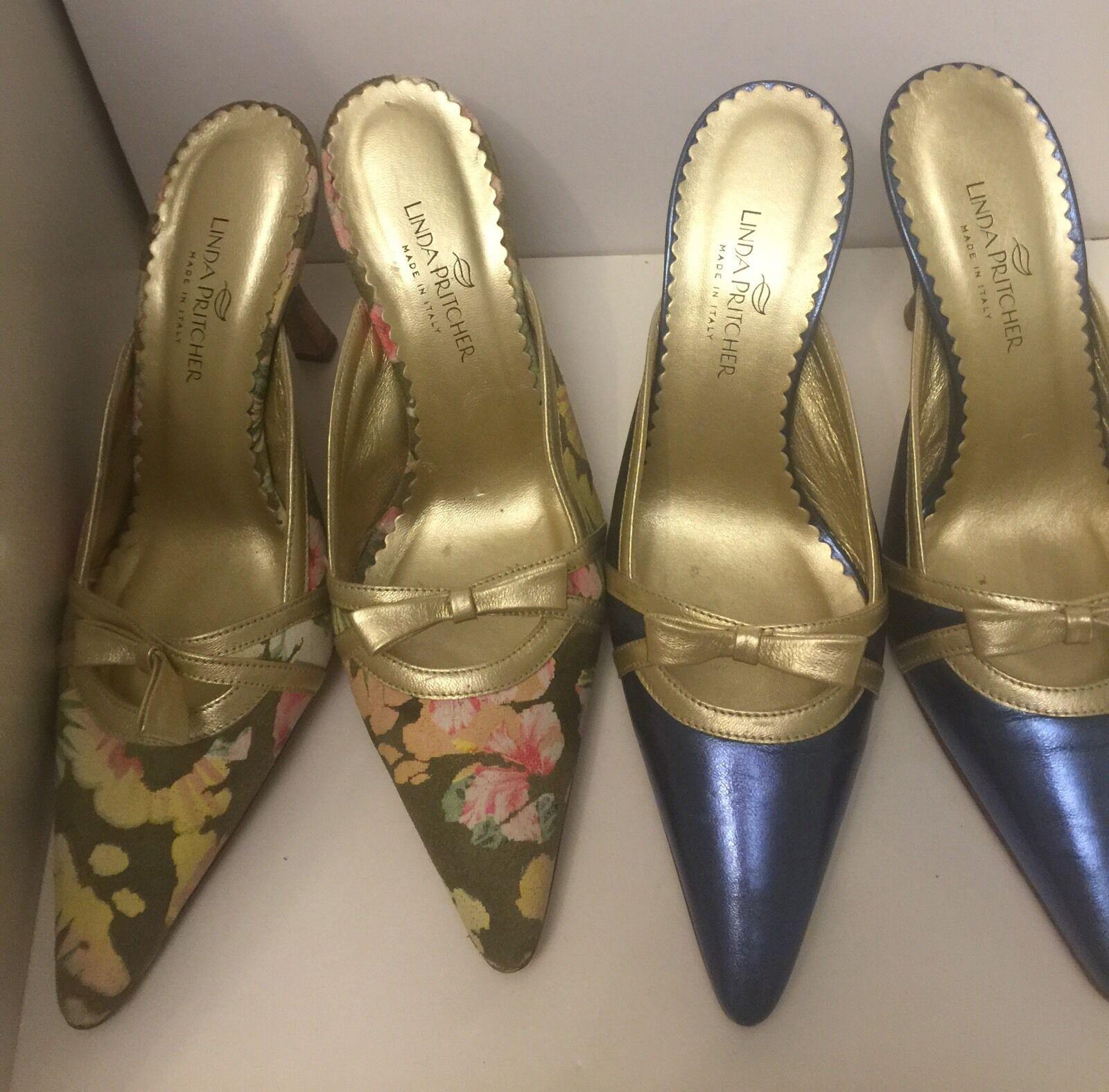 Linda Pritcher Tela Floral Azul Azul Azul Metálico resbalón en el zapato de tacón gatito (2)  tienda de pescado para la venta
