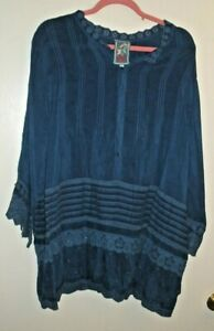Johnny Was Dark Blue Cupra Rayon Henley Embroidered Tunic   Size 1 X by Johnny Was
