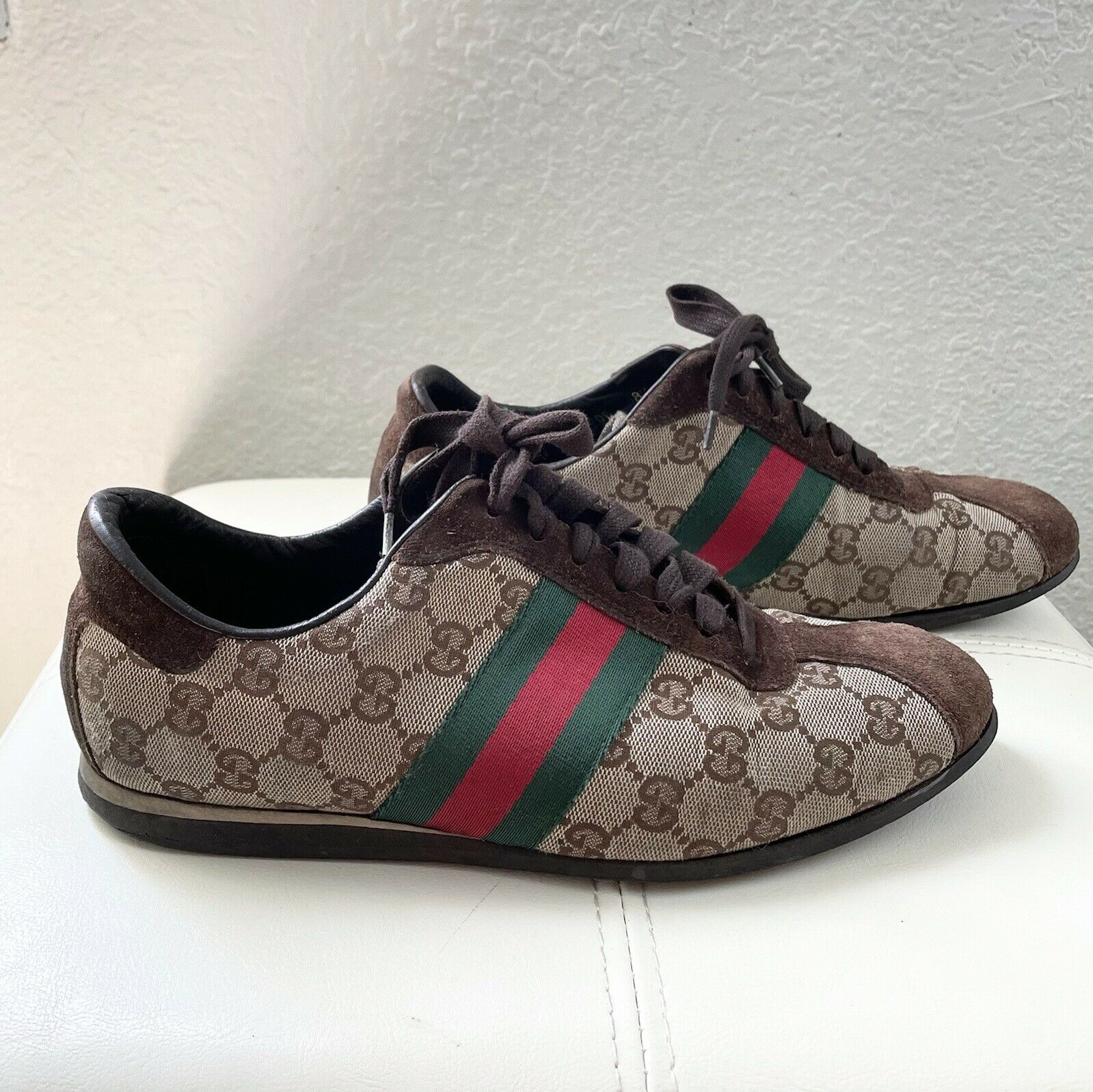 Vintage Classic Brown Green Red Gucci Logo Canvas… - image 4