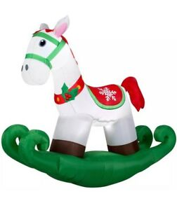 image is loading 6 039 led inflatable rocking horse christmas decoration - Christmas Horse Yard Decorations