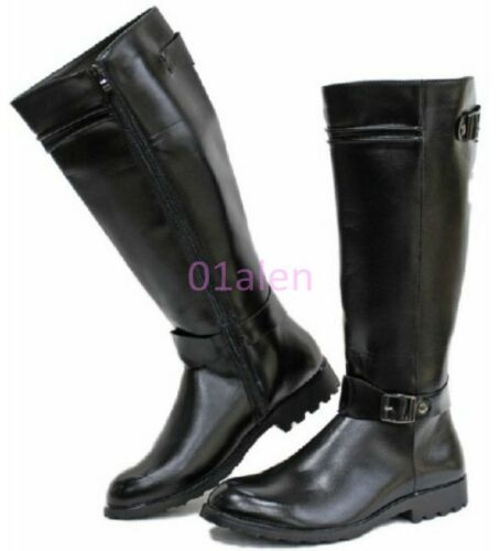 Mens Vintage Retro Riding Long Military Eequestrian Buckle Zip Knee High Boots