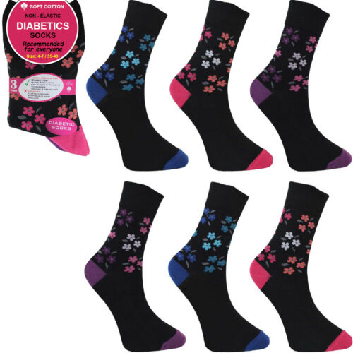 Ladies Pattern Socks Non Elastic Cotton Rich  3 6 12 Pairs Size 4 to 8