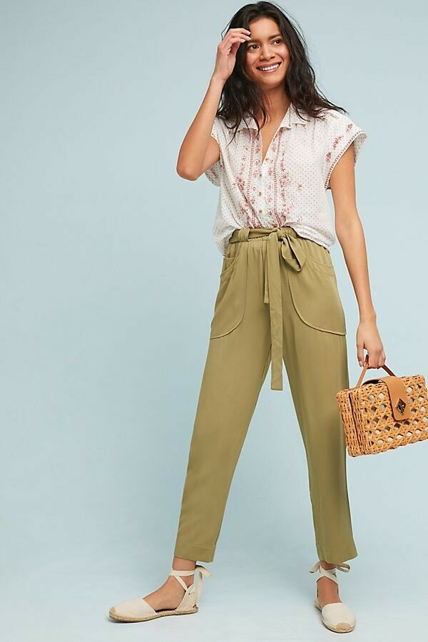 NWT  Anthropologie Dolan Green Northwestern Belted Pants Joggers Large