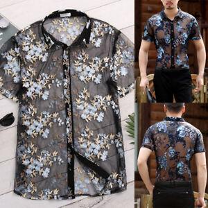 Men/'s Short Sleeve See Through Floral Mesh T Shirt Top Tee Party Beach Clubwear
