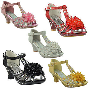 5e95c47f3d Kids Dress Sandals T-Strap Rhinestone Beaded Glit High Heel Little ...