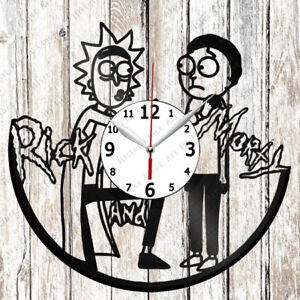Rick Morty Vinyl Record art Wall Clock Handmade Original Gift Decor Home Unique Design