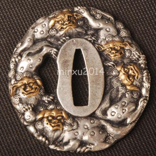 Brass Tsuba Handguard for Japanese Samurai Sword Plated /&LION replacement