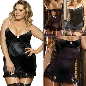 7759099c6 Sexy Plus Size Valentine s Day Gift Black Satin Babydoll Teddy ...