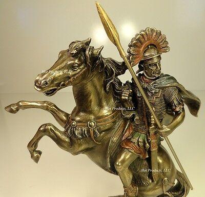 ROMAN CENTURION OFFICER SOLDIER ON HORSE W/ SPEAR Sculpture Statue Bronze Finish