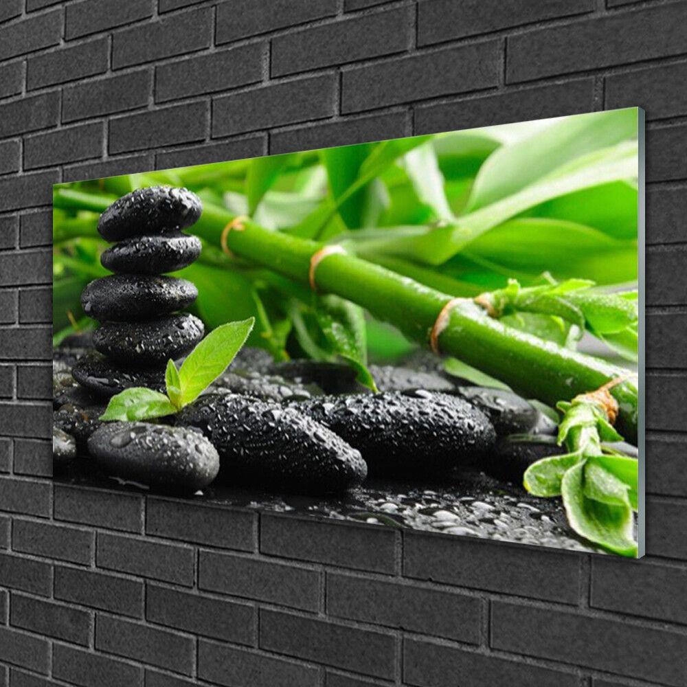 Image sur verre acrylique Tableau Impression 100x50 Floral Bambou Pierres