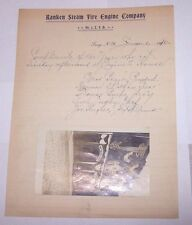 1910 RPPC RANKEN STEAM FIRE ENGINE COMPANY No2 TROY NY + COMPLIMENTARY LETTER