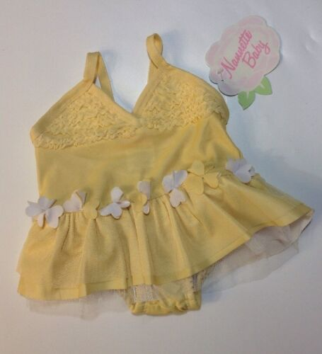 NEW NANETTE LAPORE Baby Bathing Swim Sun Dress One Pc  6-9 Months Yellow White