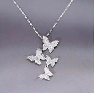 925-Sterlingsilber-Halskette-Halsketten-Schmetterling-Strass-Silber-Filigran