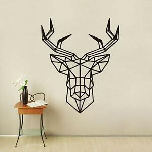 Image Is Loading Home Decor Geometric Deer Head Removable Vinyl Wall