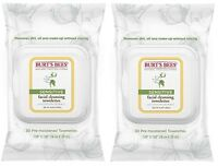 2 Pack Burt's Bees Cotton Extract Sensitive Facial Cleansing Towelettes 30 Count on sale
