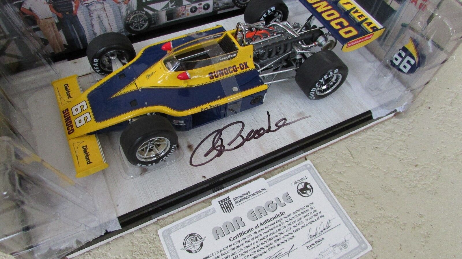 Carousel 1 Indy Indy Indy Eagle race car 1973 Sunoco Mark Donohue SIGNED by Rodger Penske dfb9e7