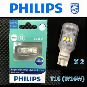 PHILIPS T16 W16W Ultinon LED 12V Xenon White Reverse Signal Light Bulb x 2 #SG