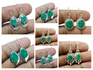 925-Sterling-Silver-Emerald-May-Birthstone-Earrings-Traditional-Mothers-Day-Gift