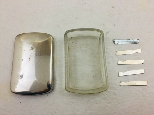 Antique Surgical Scalp Blades & Glass Case Chrome Top from Argentina #737A