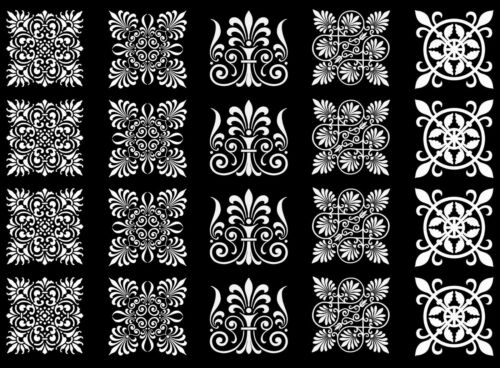 """Ornate Squares 5/""""X7/"""" Card White Fused Glass Decals 17CC911"""