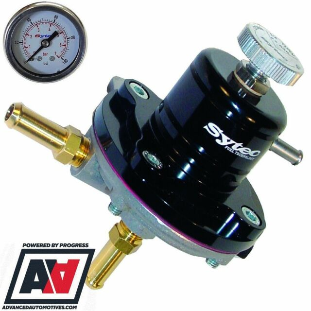 SYTEC 1:1 SAR ADUSTABLE 1-5 BAR FUEL PRESSURE REGULATOR SILVER 8mm PUSH TAILS
