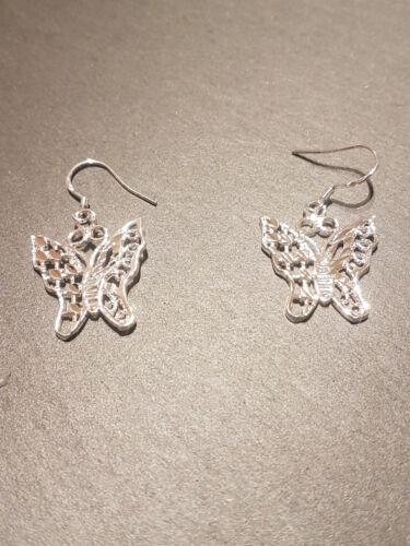*925 Silver Plated Butterfly Heart Jewellery Necklace Earrings Set UK Seller*