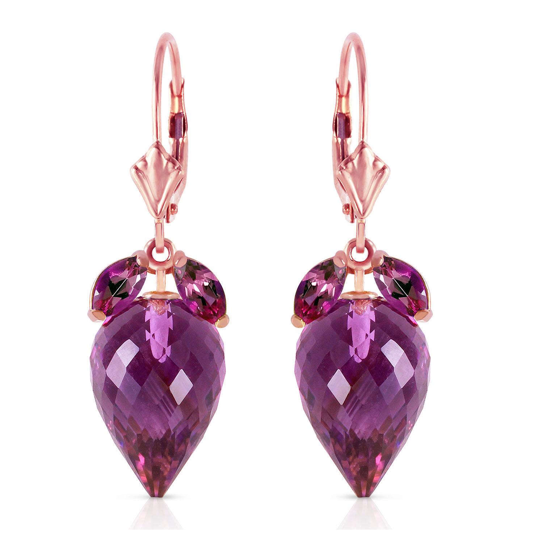 20 Carat 14K Solid pink gold Earrings Pointy Briolette Amethyst