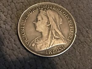 1895 LVIII CROWN - VICTORIA BRITISH SILVER COIN - V NICE