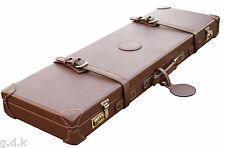 "GDK LEATHER PU SHOTGUN CASE, WOOD,LEATHER CASE,26-32""GUN CASE,FELT LINING 165pu"