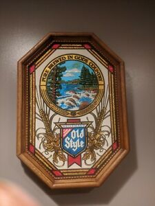 Vintage-Old-Style-Beer-NON-LIGHTED-Waterfall-Water-Bar-Advertisement-Sign