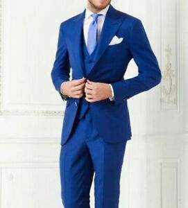 Navy Blue Groom Tuxedos Peak Lapel Best Man Suit Groomsman Men Wedding Suits