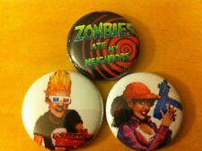 """Set of 3 Zombies Ate My Neighbors 1"""" Pins Buttons SNES Nintendo ghoul patrol !!!"""