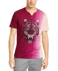 INC-Mens-T-Shirt-Pink-Purple-Size-Medium-M-Ombre-Tiger-Split-Neck-Tee-29-098