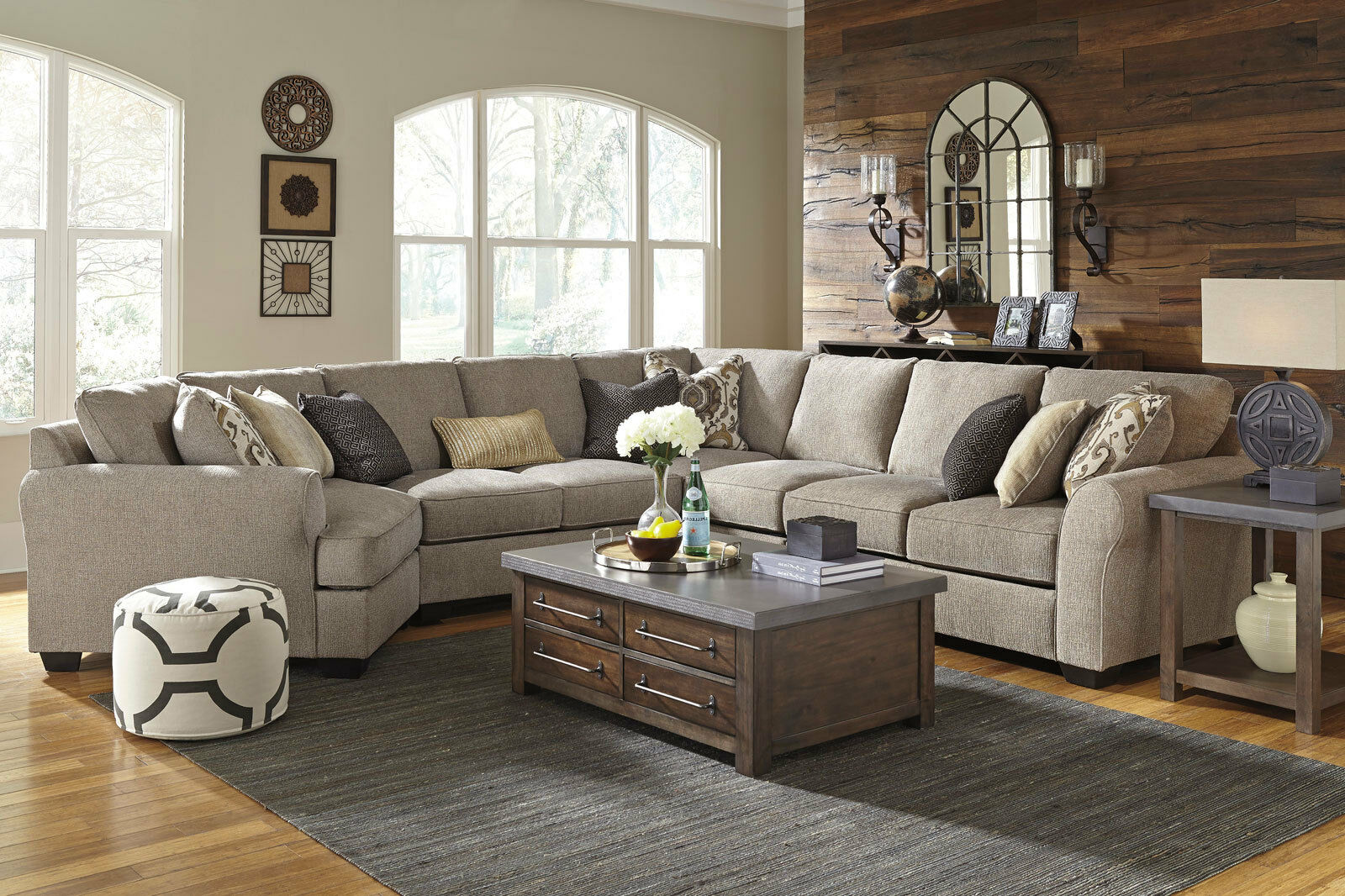 NEW 5pc Modern Living Room Couch Set - Gray Microfiber Large Sectional Sofa  IG3B