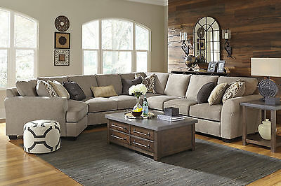 NEW 5pc Modern Living Room Couch Set - Gray Microfiber Large Sectional Sofa  IG3B 758763325723 | eBay