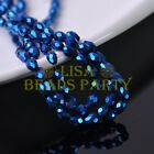 New 100pcs 6X4mm Teardrop Faceted Glass Crystal Loose Spacer Beads Metal Blue