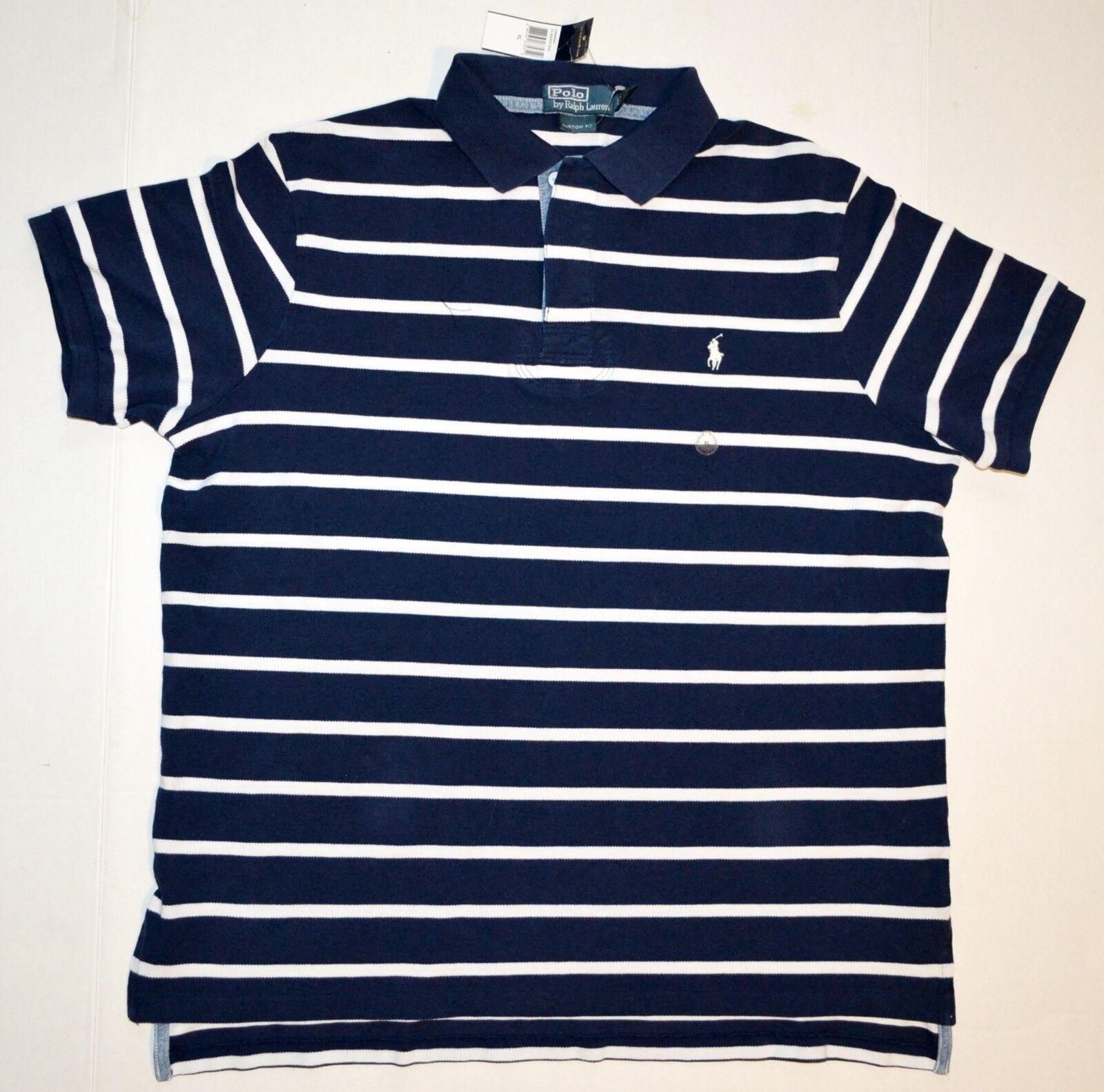 Polo By Ralph Lauren Classics Shirt Custom Fit Navy With Weiß Stripes Größe XL