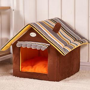 Cuccia-a-forma-di-casa-in-morbido-caldo-peluche-per-Cani-e-Gatti-misure-M-L-XL