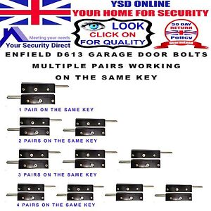 Enfield-D613-Garage-Door-Bolts-Multiple-Pairs-All-working-on-the-same-key
