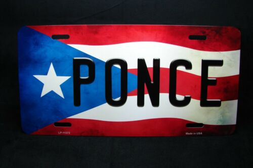 PUERTO RICO FLAG PONCE ISLA DEL ENCANTO METAL NOVELTY LICENSE PLATE FOR CARS