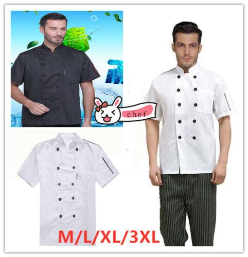 Men Chef/'s Uniform Short Sleeve Cooker Work Wear Waiter Jacket Kitchen Coat Tops