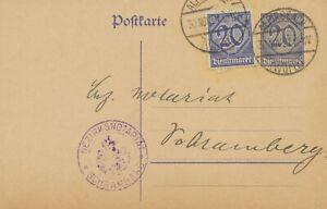 DEUTSCHES-REICH-DIENST-1920-selt-20-Pf-Kab-Dienst-GA-Postkarte-mit-dto-Zusatz