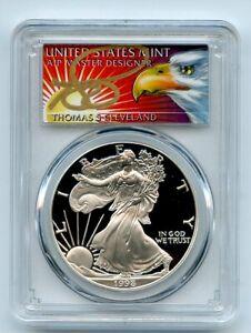 1998-P-1-Proof-American-Silver-Eagle-1oz-PCGS-PR69DCAM-Thomas-Cleveland-Eagle