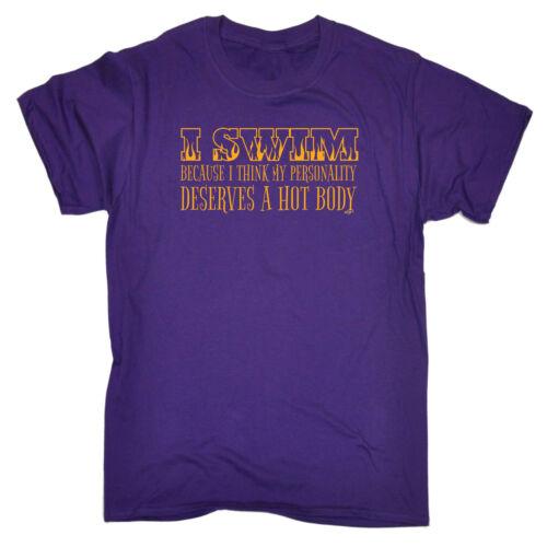 Funny Novelty T-Shirt Mens tee TShirt I Swim Because I Think My Personality De