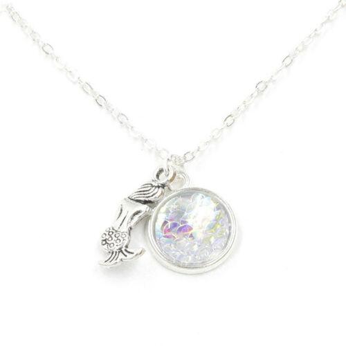 Silver Color Mermaid Fish Dragon Scale Bling Gem Pendant Necklace XL1943
