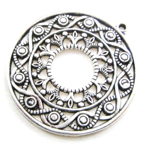 Bijoux Pendentif Disque 45x48mm Argent Antique serajosy métal remorque