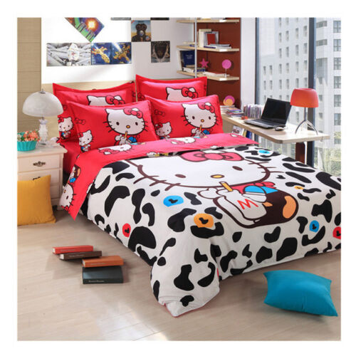 4pc 3D Hello Kitty Cartoon Pink Black /& White Cow Print Duvet Cover Set