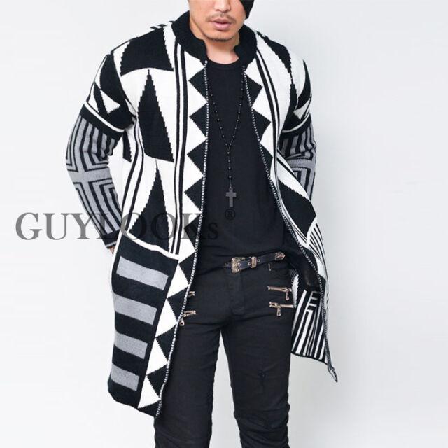 Geometric Designer Pattern Mens Long Open Wool Mandarine Knit Jacket Guylook
